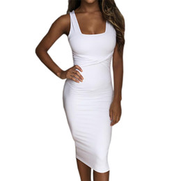 Wholesale tight office dresses - Wholesale- 2017 Sexy Summer Dress Scoop Collar Sleeveless Tight Dresses Clubwear Party Women vestidos de festa Femme office dress GV575