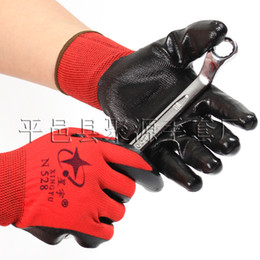 Wholesale Coated Gloves Wholesale - Black and red Work Safety Gloves Nylon PU Nitrile Palm Coated Mechanic Construction Safety Glove Protective Cut-Resistant Anti Abrasion