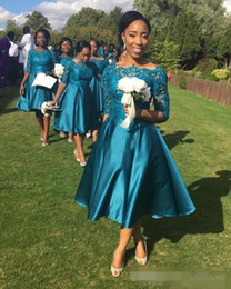 Wholesale Teal Bridesmaid Dress Styles - Vintage 2017 Tea Length Country Style Bridesmaid Dresses with Half Sleeve Teal Satin Short Formal Wedding Guest Party Gown