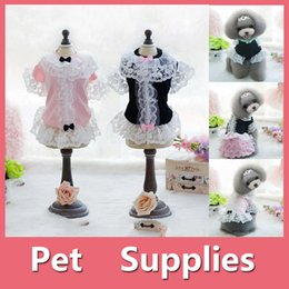 Wholesale Princess Dog Costumes - Lovely Small Pet Dog Party Princess Dress Bowknot Puppy Dress Pet Supplies With 2 colors Black Pink Size XS-XL