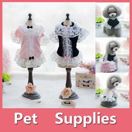 Wholesale Princess Sweatshirts - Lovely Small Pet Dog Party Princess Dress Bowknot Puppy Dress Pet Supplies With 2 colors Black Pink Size XS-XL