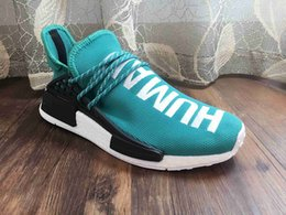 Wholesale Discount Mens Tennis Shoes - 2017 Cheap Wholesale 2016 New Arrival Discount Pharrell Williams X NMD HUMAN RACE Yellow Sneaker Mens Sports Running Shoes With Box