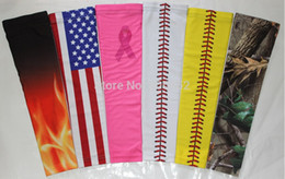 Wholesale Football Arm Pads - 2pcs Compression Sports Arm Sleeve Digital Camo Baseball Football Wicking Neon sleeves free shipping sample order