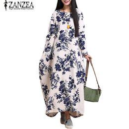 0da58b4609 x201710 ZANZEA Women Oversized Cotton Linen Floral Baggy Tunic Long Maxi Shirt  Dress Kaftan