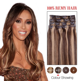 Wholesale Beautiful Queen Hair - 7a Unprocessed Hair Products Full Head Clip Ons Human Hair #4 27 16-24inches Soft Beautiful Queen Hair Extensions