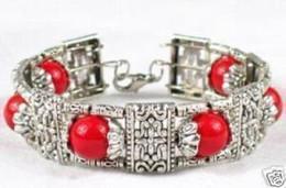 Braccialetto d'argento rosso corallo online-BRACCIALETTO DI BRACCIALE TONDO 6 BRACCIALE CON CORALLO ROSSO IN ARGENTO TIBET