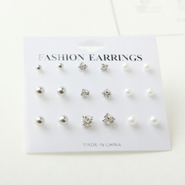 Wholesale Fashion Earring Cards - 6 cards (9pairs 1 Set) Fashion Hot Rhinestone Zirconia and pearls Earring for Women Display Boards Wholesale Jewelry Lots