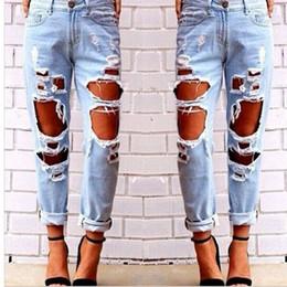 Vêtements en jeans en difficulté en Ligne-Hot Women Ripped Sexy Jeans Détruit Ripped Distressed Slim Denim Pants Casual Hip Hop Vêtements Pantalon pour Femme Livraison gratuite