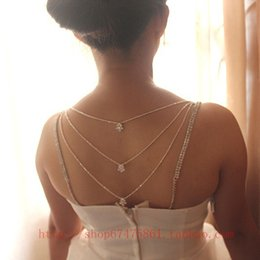 Wholesale Korean Models Bra - Wholesale-Korean models multilayer crystal tassel back chain rhinestone lingerie strap for brides wedding accessories bra straps