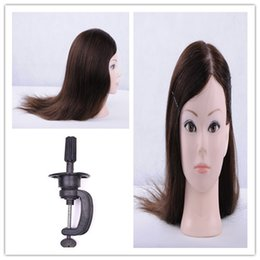 Wholesale Mannequin Head For Wig Hat - wholesale training hair dressing doll head for hat display, female real hair wig mannequins makeup practice head