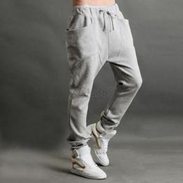 Wholesale Hot Slacks - Wholesale-Drop& Men Jogger Dance Sportwear Baggy Harem Pants Casual Slacks Trousers Sweatpants US S M L Hot LZH7