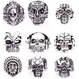Wholesale Rock Band Rings - wholesale 50PCs silver skull skeleton mixed styles men's punk rock metal alloy jewelry rings brand new