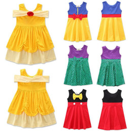 Wholesale Girls White Fancy Dresses - Kids Girls Snow White Belle Mermaid Princess Party Fancy Dress Boutique Dress INS Sleeveless Dresses Kids Clothing KKA2707