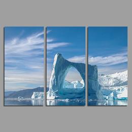 Canada Mode Art bleu glace 3 pcs salon Décoration arctique paysage Toile impression Peinture sur mur Art images décor à la maison sans cadre supplier blue ice pictures Offre