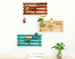 Wholesale Wood Wall Decor Wholesale - kitchen Storage Holders Creative Potted plants House Wall Decor Wooden Home Products Sundries Multiple layers Wall Decoration 2017 wholesale