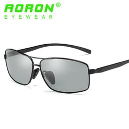 Wholesale Anti Glare Driving Glasses - 2017 Fashion Mens Aoron Brand Sunglasses Polarized Photochromic Eyewear Anti Glare Goggles HD Driving Discolour Mirror Sun Glasses For Men