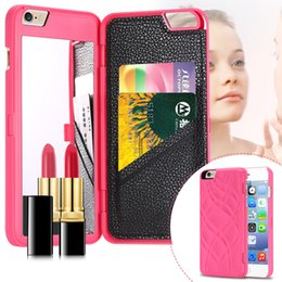 Wholesale Black Magic Wallet - iFrogz Charisma Magic Mirror Wallet Case Lady Make Up Flip PU Leather Case for iPhone 6 Plus with Card Slot