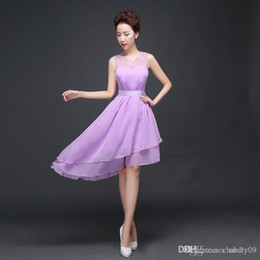 Wholesale Wedding Dress Jewels Colors - 4 colors 2017 New ladies wedding clothes Sexy sleeveless Special Occasion party gown chiffon sisters Bridesmaid dress