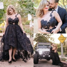 Wholesale Womens White Dress Red Flowers - Sexy Hi-Lo Evening Dresses Sheer Neck Applique Black Lace Womens Prom Gowns Sweep Train Sleeveless Cocktail Party Dress
