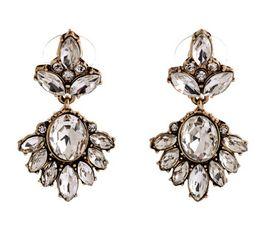 Wholesale Earrings Vintage Diamond Flower - Fashion Jewelry Women Big Earrings Vintage Diamond Earrings 10PRS Girls Transparent Crystal Stud Earrings Ladies Party Charm Earring
