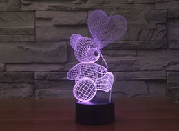 Wholesale Led Bear Night Lights - 2017 Teddy Bear New Style 3D Optical Night Light 9 LEDs Night Light DC 5V Factory Wholesale