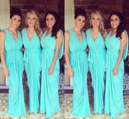 Wholesale Turquoise Formal Bridesmaid Dress - Bridesmaid Dresses 2016 V Neck Teal Turquoise Chiffon Open Back Party Dress Long Plus Size Formal Maid of Honor Gown Wedding Guest Dress