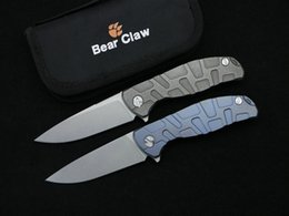 Wholesale Ceramic Combat Knives - Bear Claw Svarn F95 Flipper Tactical Folding Knife Ceramic Ball Bearing Outdoor Caming Hunting Survival Pocket Knife EDC Tools Xmas Gift