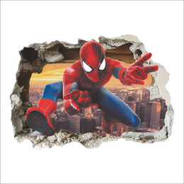 Wholesale Spider Man Wall Stickers - 3D Spider Man Cartoon Wall Stickers for Children PVC Broken Wall Art Mural Wall Decals Living Room Kids Room Decoration Hot Sale