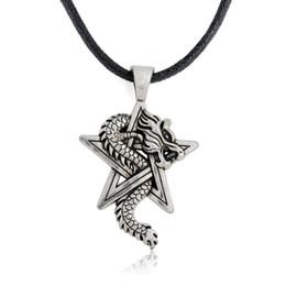 Wholesale Mens Necklace Black Leather - Pewter Dragon on Pentacle Pentagram Star Gothic Fantasy Pendant Mens Leather Necklace