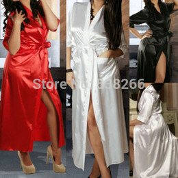 Wholesale Cotton Babydoll Dress - Wholesale-New Sexy SILK Stain Kimono Dressing Gown Bath Robe Babydoll Lingerie Nightdress
