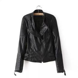 Wholesale Beads Strip - 2017 Top S-L New Spring Autumn Adjustable Waist Zippers Draped Cross Fashion Women Black Slim Leather Jacket