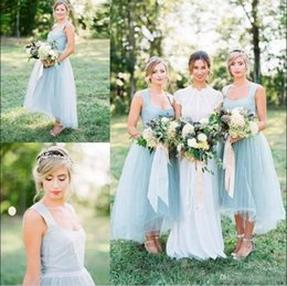 Wholesale Wedding Dresses Square Neckline - Ice Blue High Low Tea Length Bridesmaid Dresses 2017 New Arrival Square Neckline Satin Tulle Maid Of Honor Gowns Cheap Wedding Guest Dress
