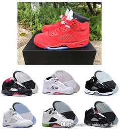 Wholesale Cheap Tongue - New cheap air retro 5 V Olympic OG metallic Gold Tongue men basketball shoes Black Metallic red blue Suede Fire Red sneakers