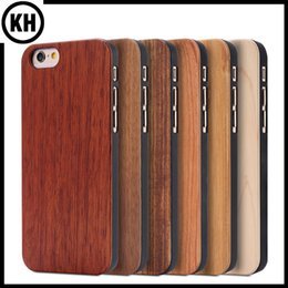 Wholesale Real Iphone Cellphone - Real Natural Bamboo Wood Case Wooden Cellphone Cover For iPhone6 7 4.7 iPhone6 Plus 6S Plus 7 Plus 5.5 Hard Cases