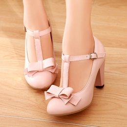 Wholesale Lolita Mint Dress - Plus Size 41 42 43 New Elegant Office Dress Shoes Women Buckle Strap Bowknot High Heels Block Lolita Shoes E7X