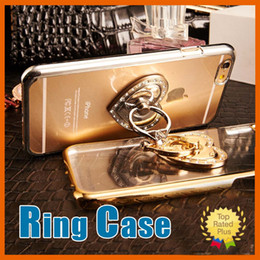 Wholesale Yellow Gold Purple Diamond Rings - Finger Holder Bracket Love Diamond Ring Phone Cases For iPhone 7 5 5S 6 6S Plus 6Plus Cases Back Cover