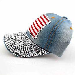 Wholesale american flag jeans for men - Wholesale- SYB 2016 NEW Light Blue Vintage American Flag Pattern Rhinestoned Denim Jeans Baseball Cap Sun Hat For Women