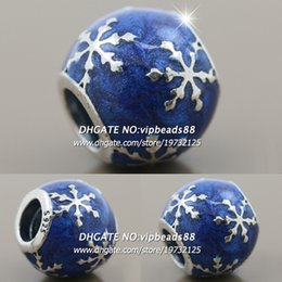 Wholesale Jewelry Making Snowflake - New 2017 Winter S925 Sterling Silver Blue Enamel Winter Snowflake Joy Charm beads For Pandora charm Bracelets Beads & Jewelry Making