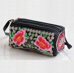 Wholesale Canvas Envelope Wallets - Free shipping embroidery women handbag Baguette shoulder bags party phone bags wallets envelope clutch chain purse