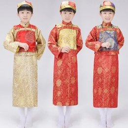 Wholesale Children Dressed Traditional Clothing - Qing prince dress boy child costume Baylor Elder emperor boys Chinese traditional clothing ancient stage costumes