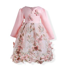 Wholesale Dress Kids Clothing Embroidery - Flower Girls Dresses Long Sleeve Butterfly Embroidery High Quality Pink Cute Spring Fall Princess Kids Clothing