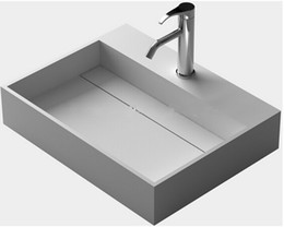 Wholesale Rectangular Wash Basins - Rectangular Bathroom Solid Surface Stone Counter Top Sink And Fashionable Cloakroom Stone Matt Or Glossy Wash Basin RS3833