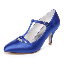 Wholesale Satin Blue Pumps Cheap - Handmade Nice Buckle Wedding Shoes Blue Bridal Shoes Bridesmaid Shoes Banquet Dress Shoes Pumps 7.5cm Large Size Cheap price small Size 35