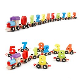 Wholesale Train Assembly Toys - Original Muwanzi Children's Block Number Train Colorful Educational Puzzle Wooden Train Kids Assembly Puzzle Toys