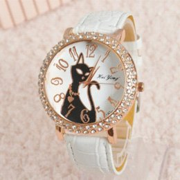 Wholesale Hours Sex - Fashion Sex Kitty Watch Women Quartz Watch Rhinestone Leather Wristwatches Female Hours Dress Watch relogio feminino HY1005
