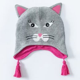 Wholesale Kids Knit Cat Beanie - Wholesale 2016 Ash Baby Cat Hat Cotton Embroidery Crochet Baby Beanies Kids Fall Winter Warm Baby Cap Handmade Knit Windproof Earmuffs Cap