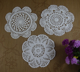 Wholesale Free Doily Patterns - Free Shipping Wholesale Round Crochet pattern Doily handmade Crochet cup mat White, Pink,Ecru 20CM 24pcs LOT ab3h75