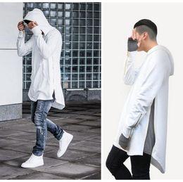 Wholesale Tyga Style Clothes - British Style Men Hoodies Hip Hop Streetwear Long Zipper Arc Cut Extended Sweatshirts Tyga Sportswear Kanye West Clothing