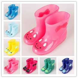 Wholesale Wholesale Kids Rain Boots - New rainbow colors jelly colors rain shoes waterproof kids baby girls or boys 7 colors 5 sizes cartoon cute rain boots UPS free sheeping