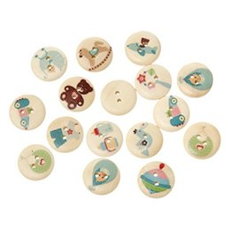 Wholesale Baby Sewing Buttons - 2016 Random Mixed 100PCs Wooden Buttons Natural Baby Care Pattern 2-Hole For Crafts Decoration Collections Sewing I277L